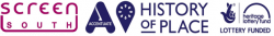 Screen South, Accentuate History of Place and Heritage Lotter Fund logos