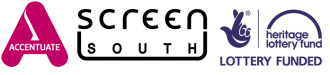 Screen South logo, Accentuate History of Place logo and Heritage Lottery Fund logo